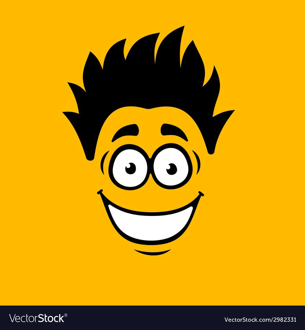 Smiling Cartoon Face on Orange Background