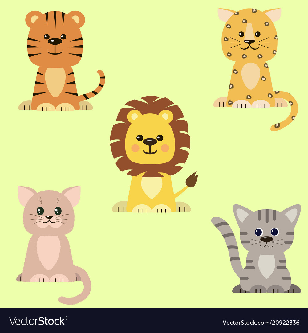 A set of icons of a cat a tiger a lion a