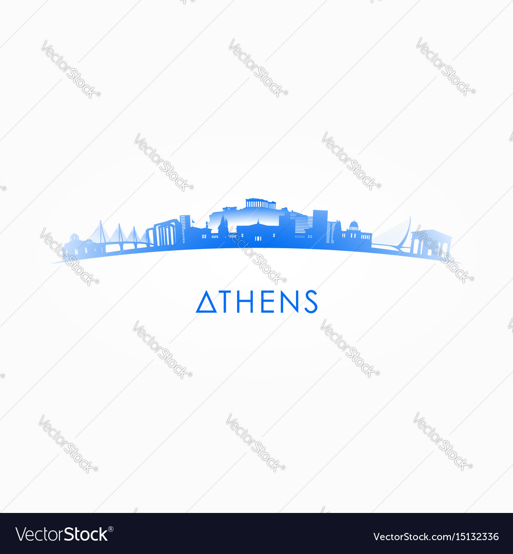 Athens greece skyline silhouette