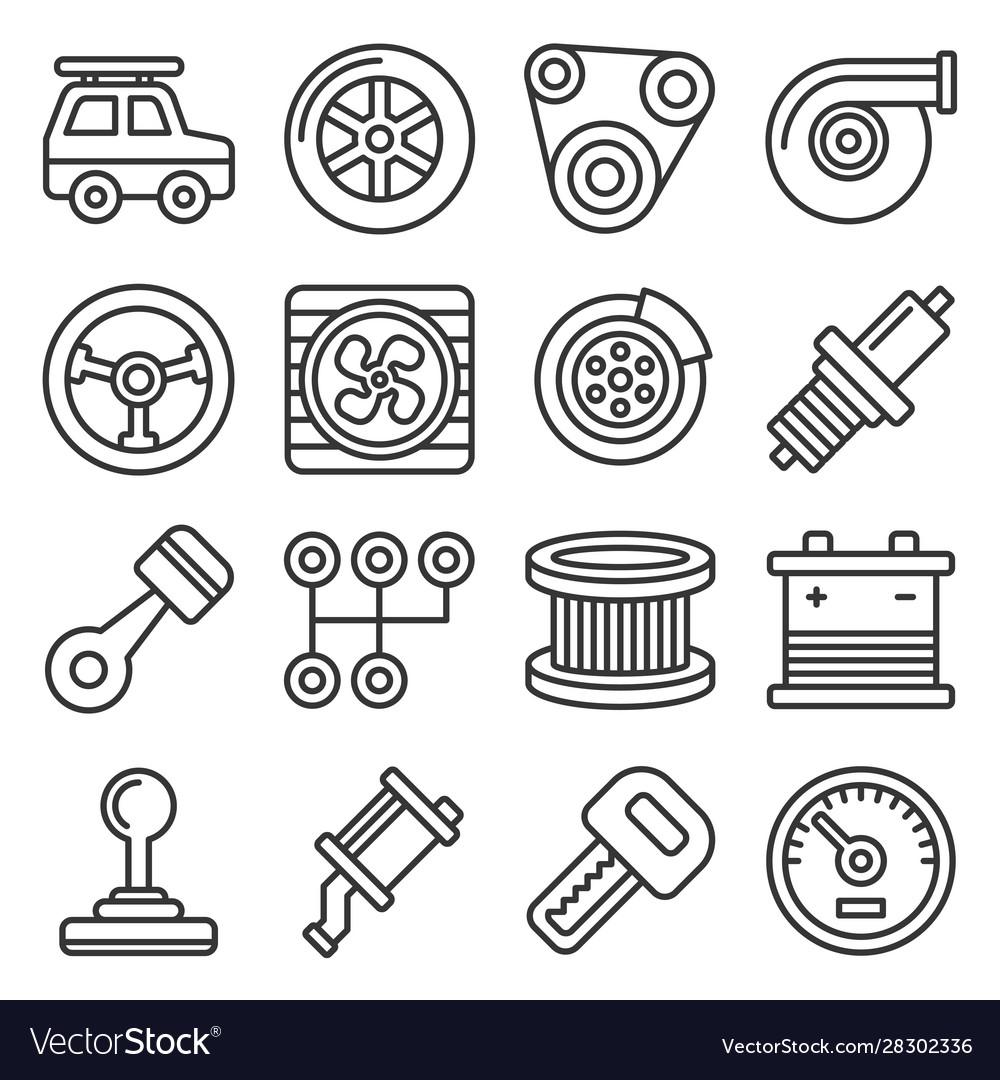 Automotive car service icons set on white