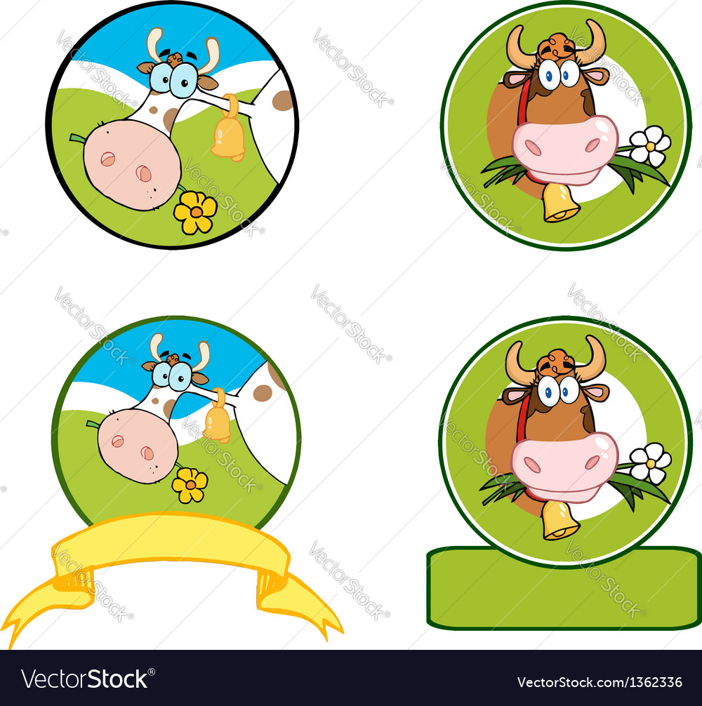 Dairy Cow Cartoon Banner Collection