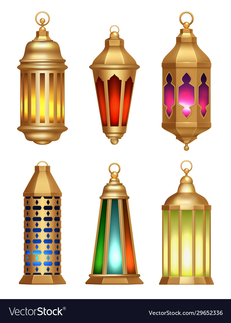 islamic lamps ramadan lanterns arabic vintage vector image vectorstock