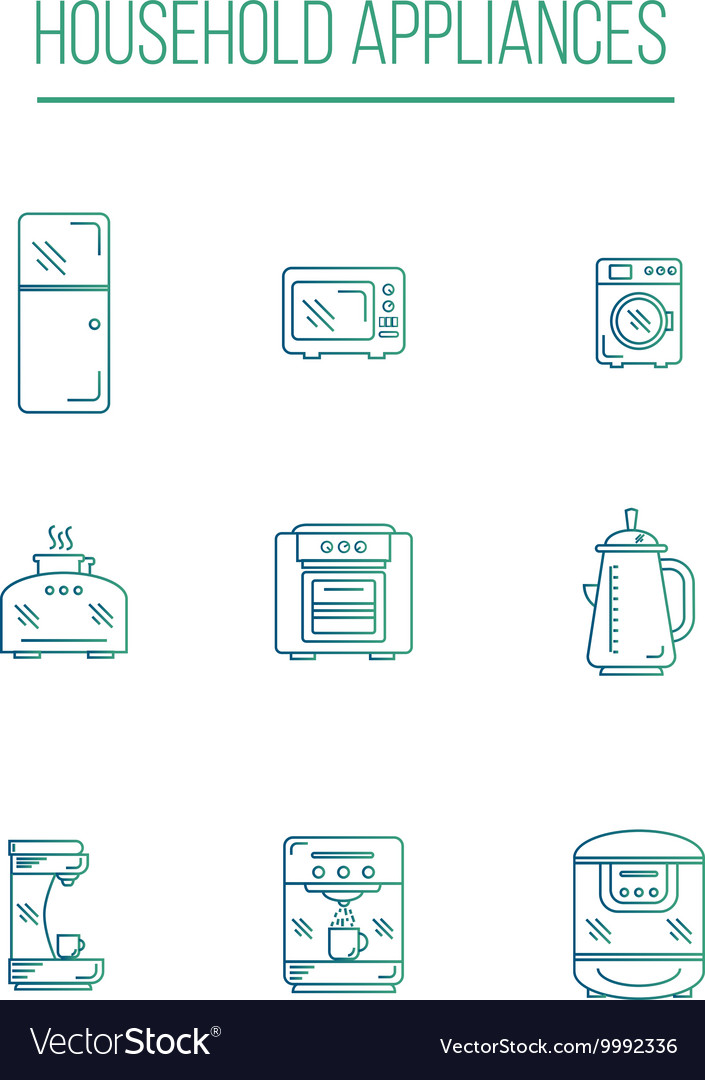 Kitchen Appliances icons white background vector image