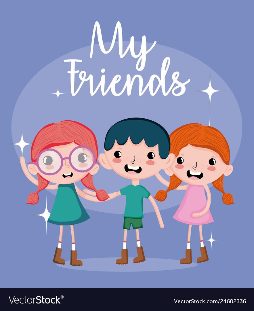 My Friends Cute Cartoons Royalty Free Vector Image