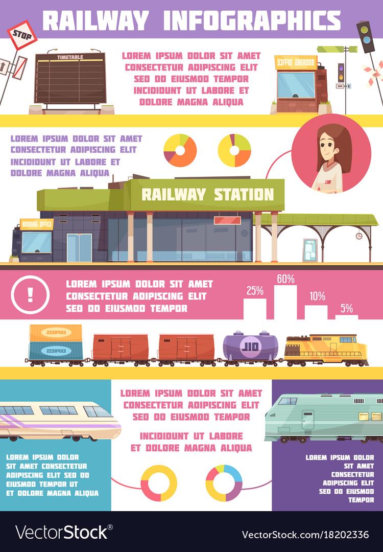 Railway infographics flat template