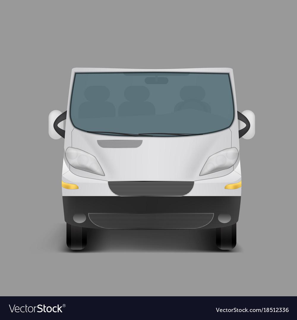 Realistic white minivan city minibus