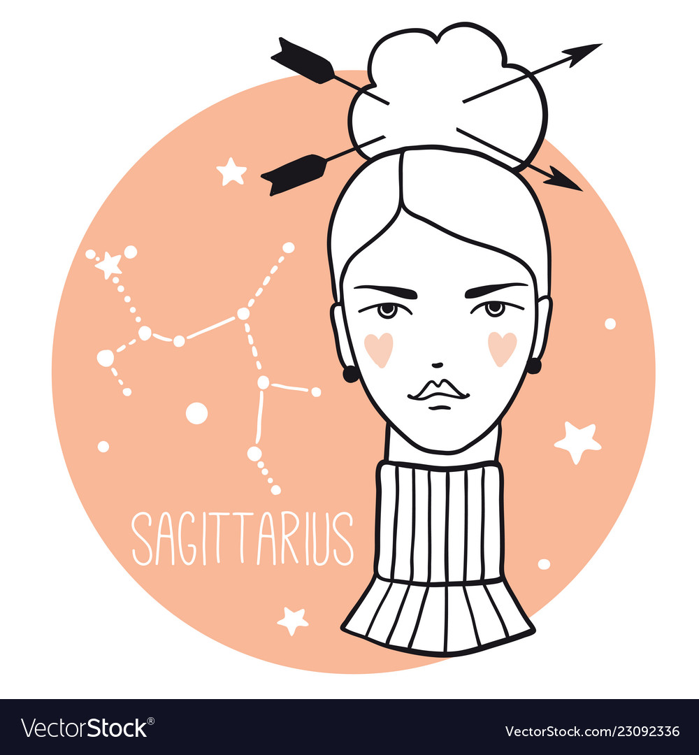 Sagittarius girl sketch style woman with zodiac