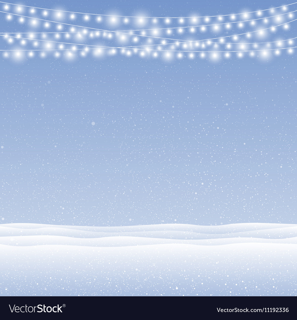 Snow falling on blue background Garlands