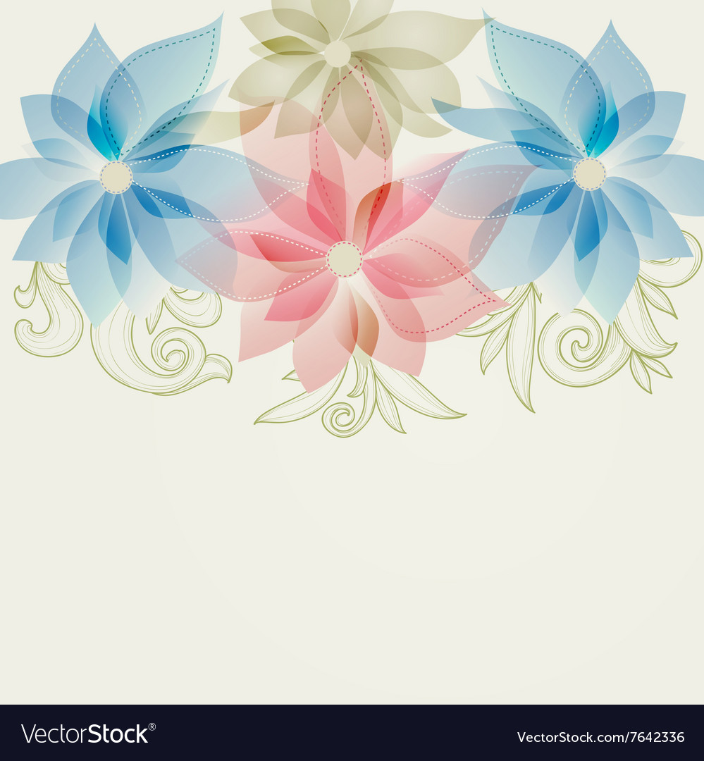 Spring Floral Background In Pink And Blue Vector Image