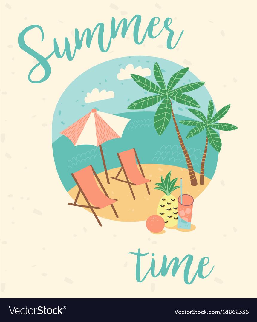 Summer vacation flat cartoon retro