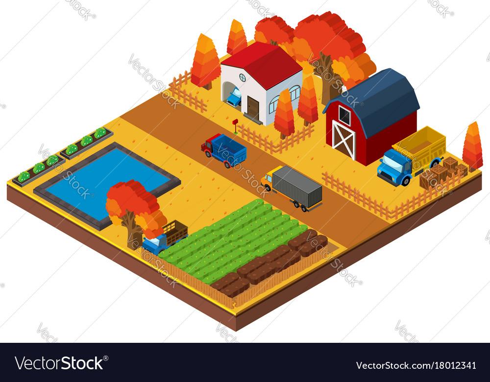 3d design for houses and farmland
