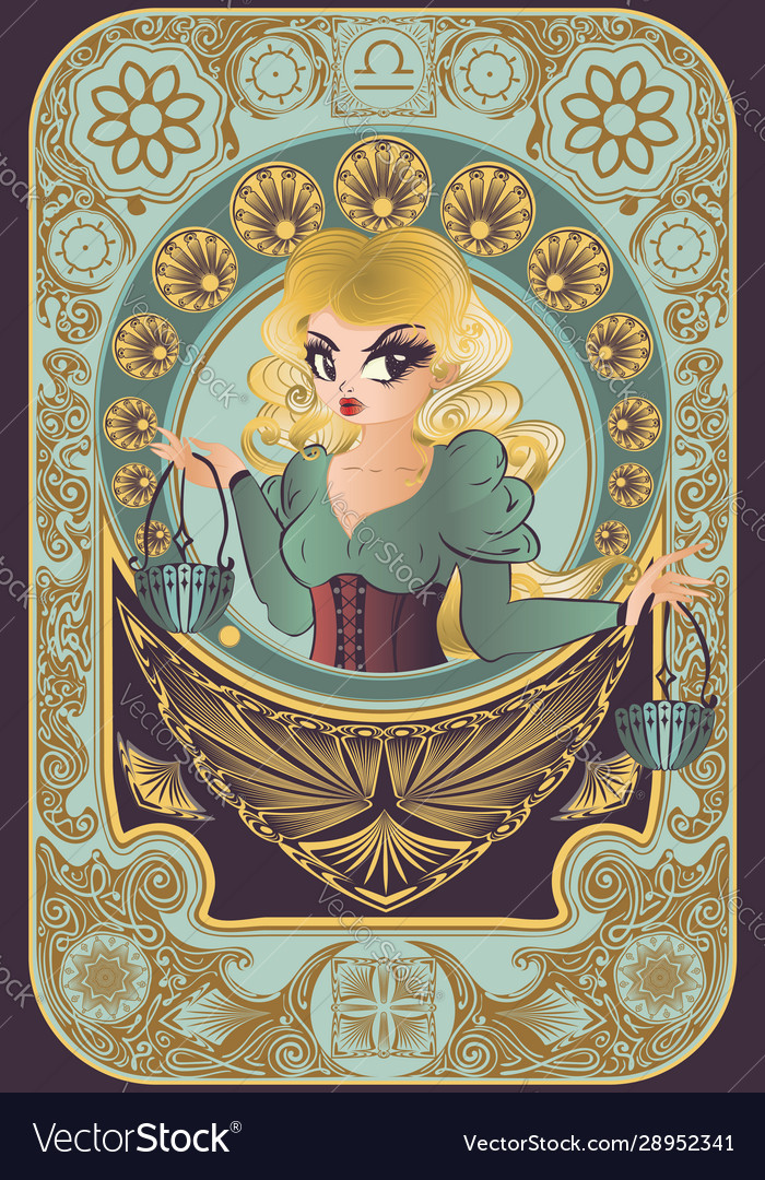 Art nouveau frame libra zodiac girl