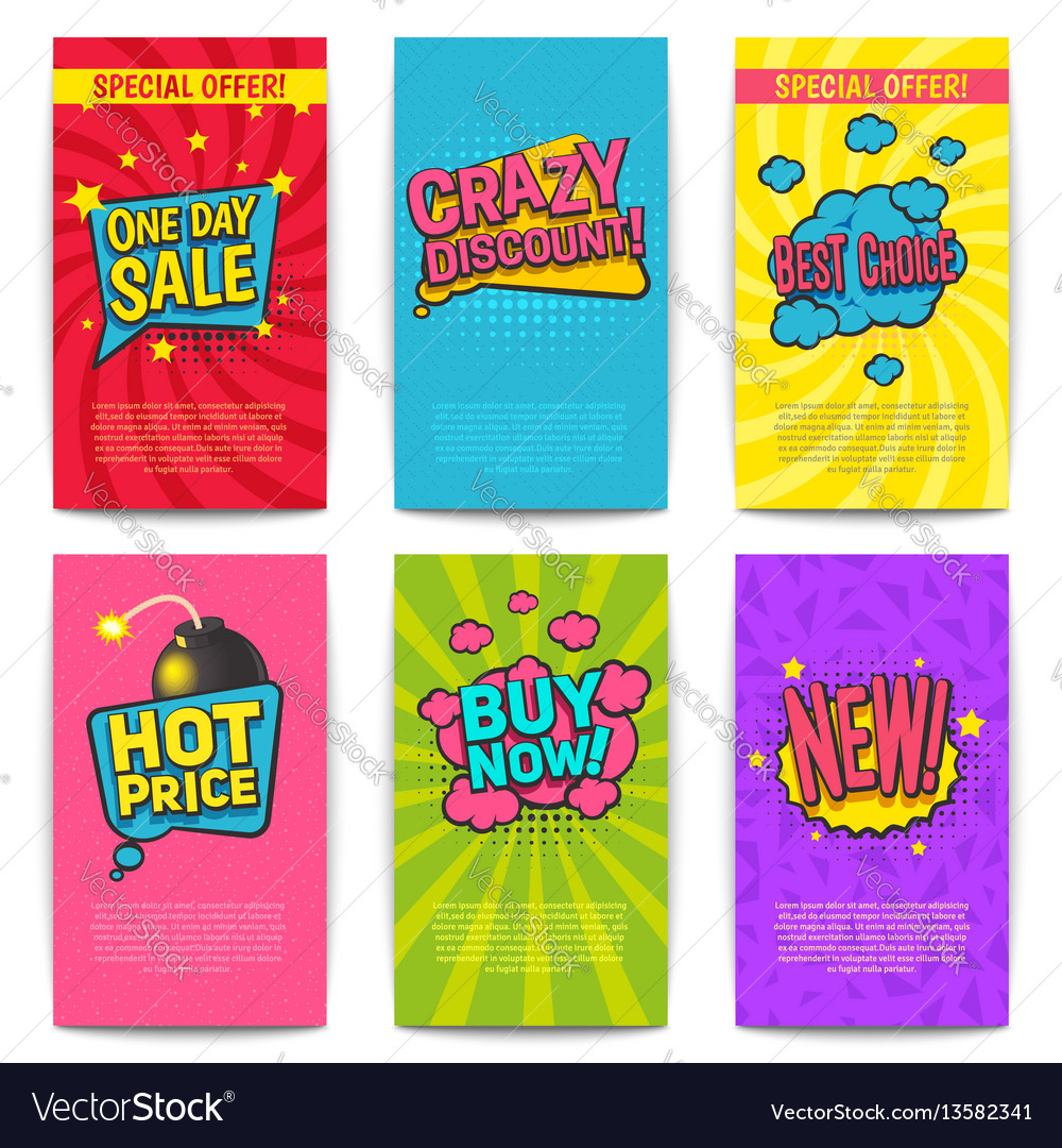 Discount comic posters vector image