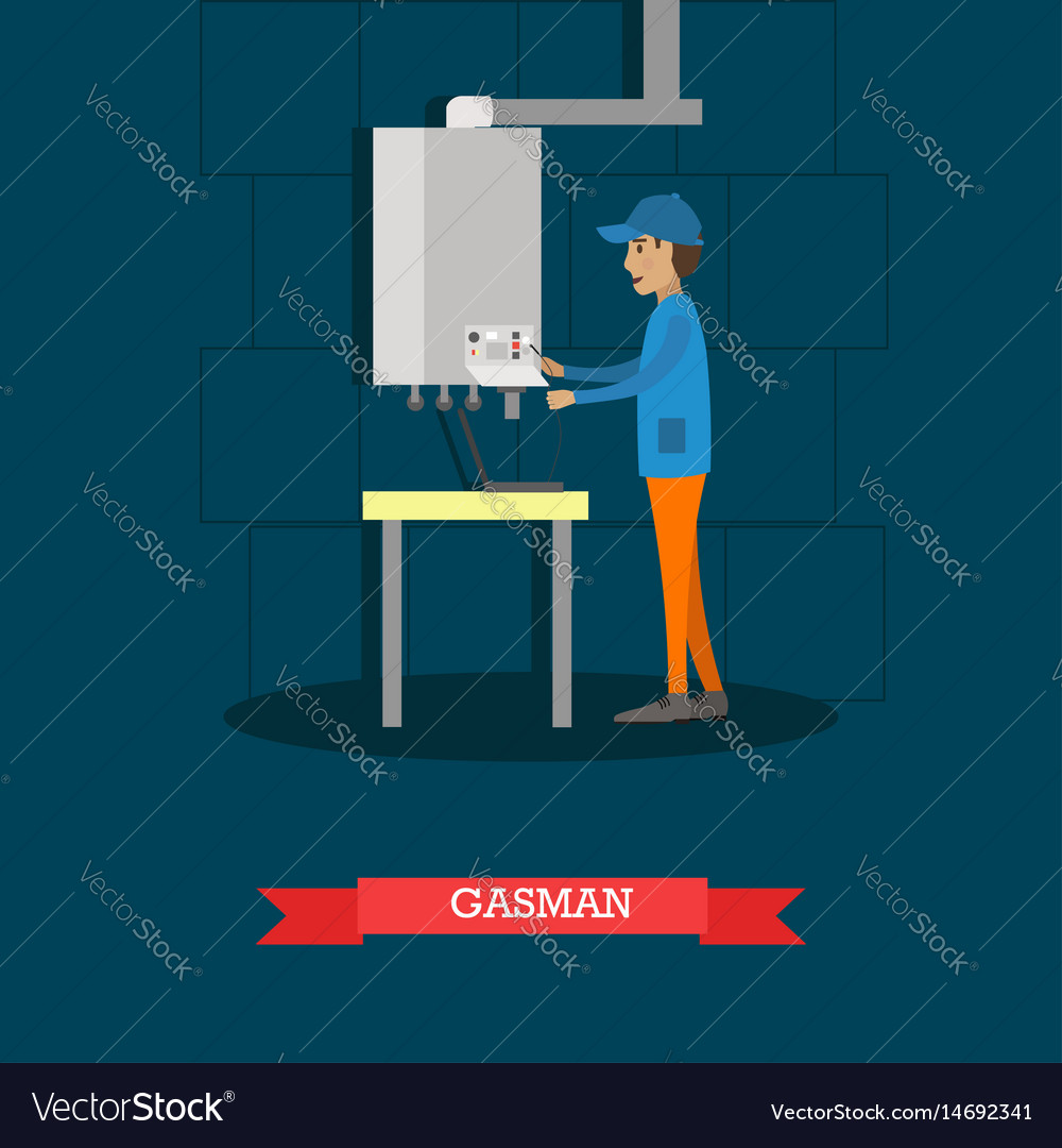 Gasman concept in flat style
