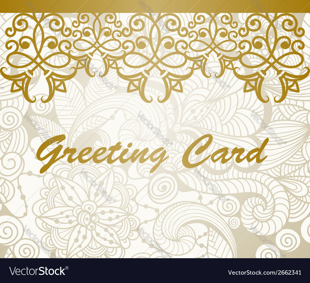 Greeting Card With Golden Floral Border