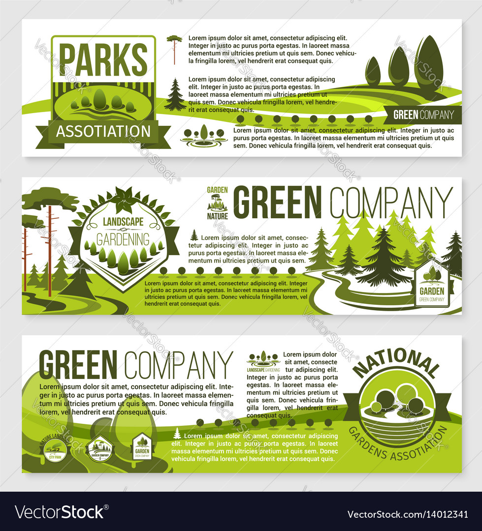 Landscaping And Gardening Banner Template Design Vector Image