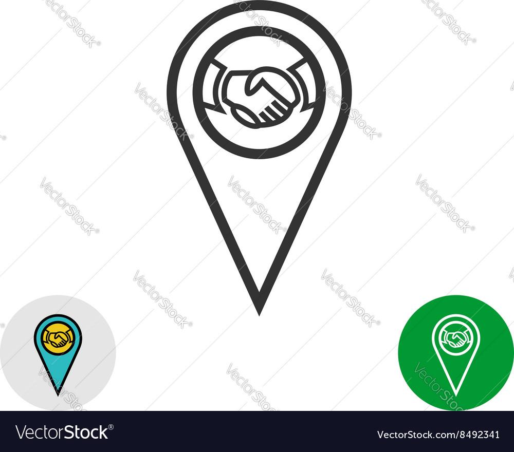 Meeting point logo Handshake icon inside a geo map