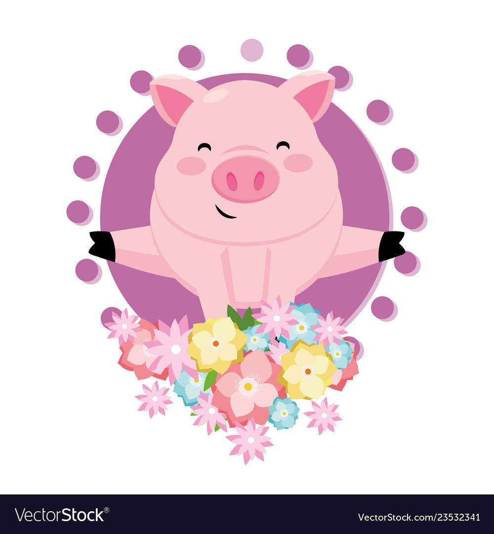 Pig with flower