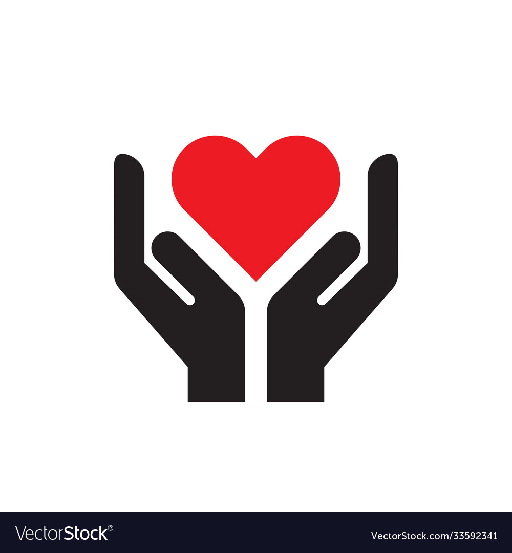 Red heart in hands - icon on white background