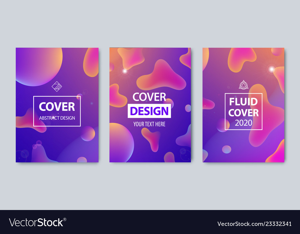 Set of modern abstract fluid covers set