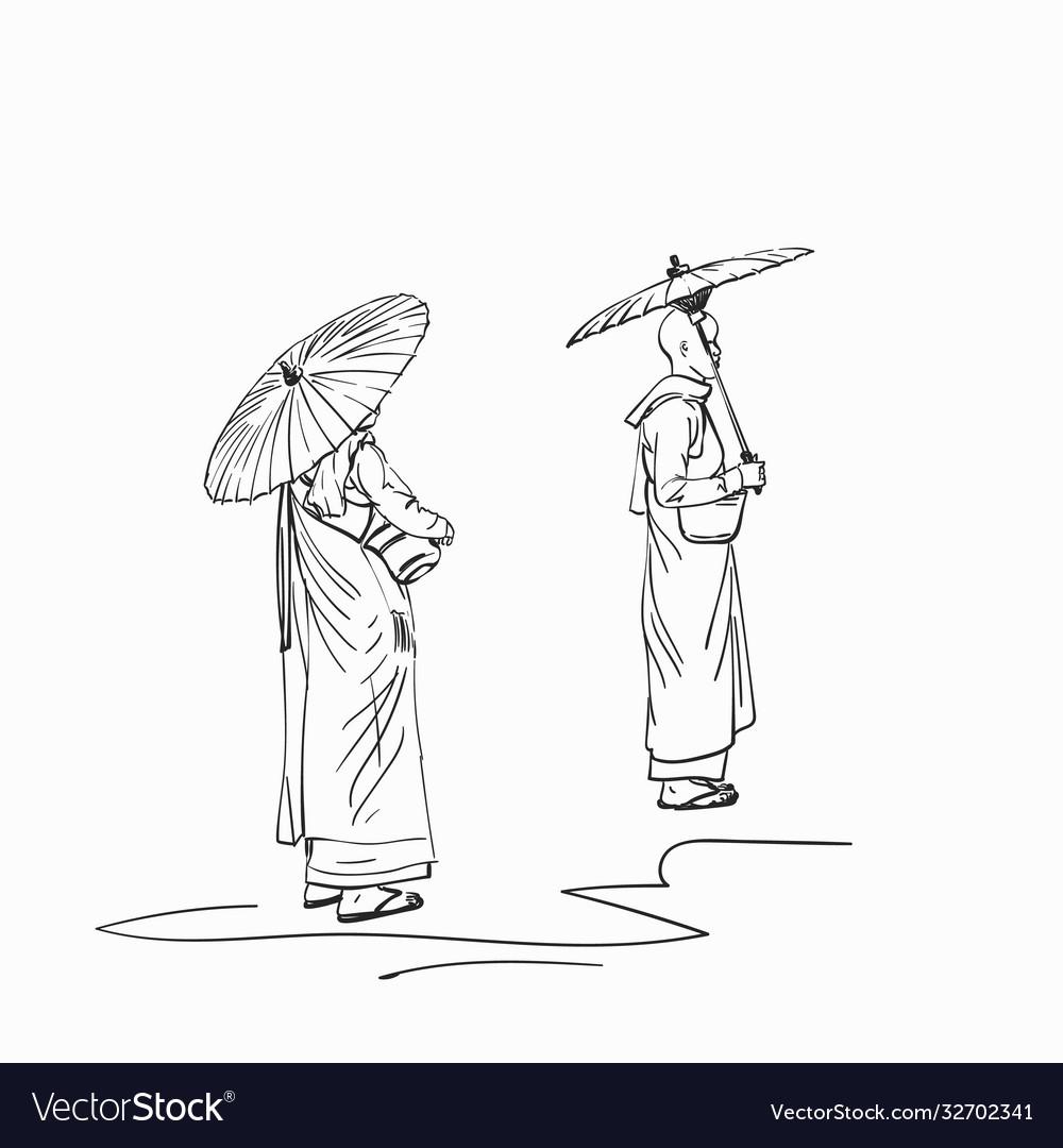Sketch burmese buddhist nuns with sun