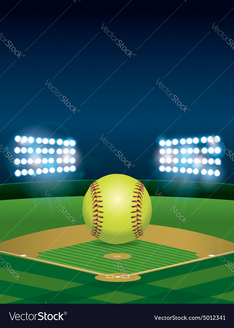 Softball on Field Copyspace vector image
