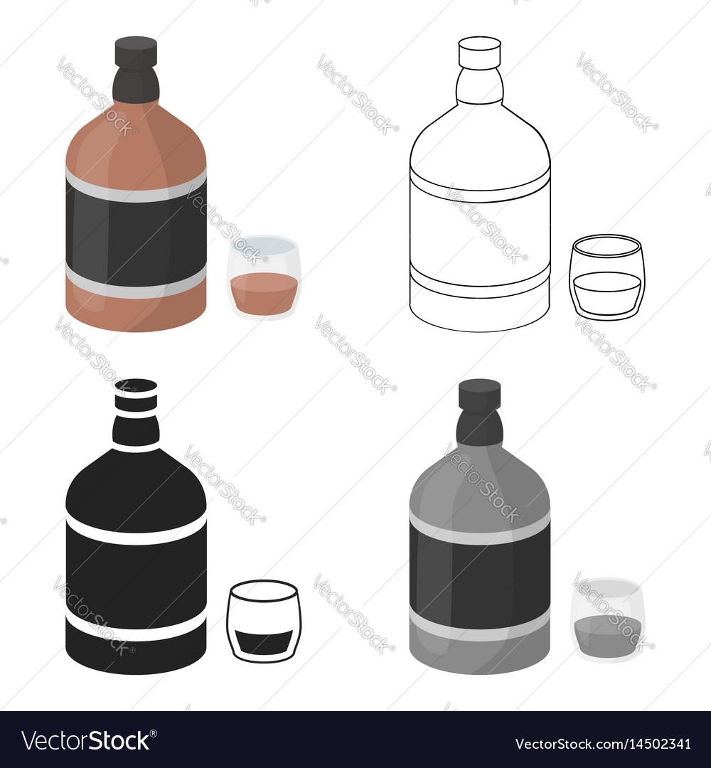 Whiskey icon in cartoon style isolated on white