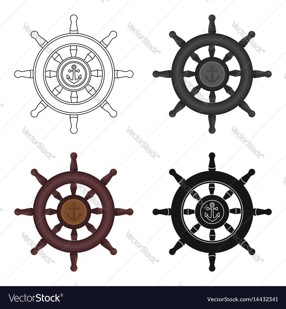 Wooden ship steering wheel icon in cartoon style