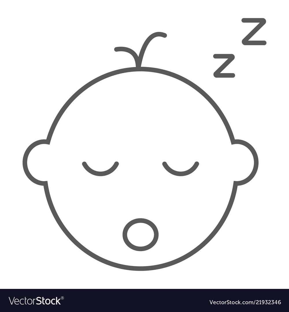 Baby boy sleep thin line icon child