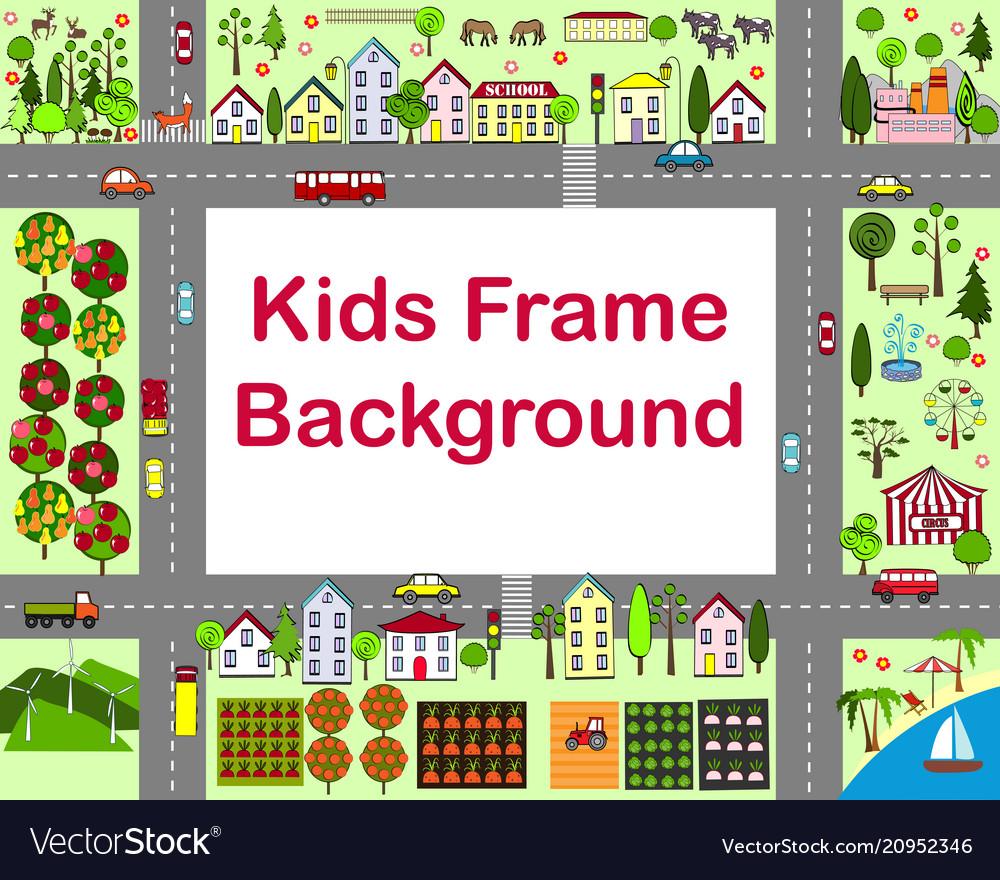Cartoon city frame with houses
