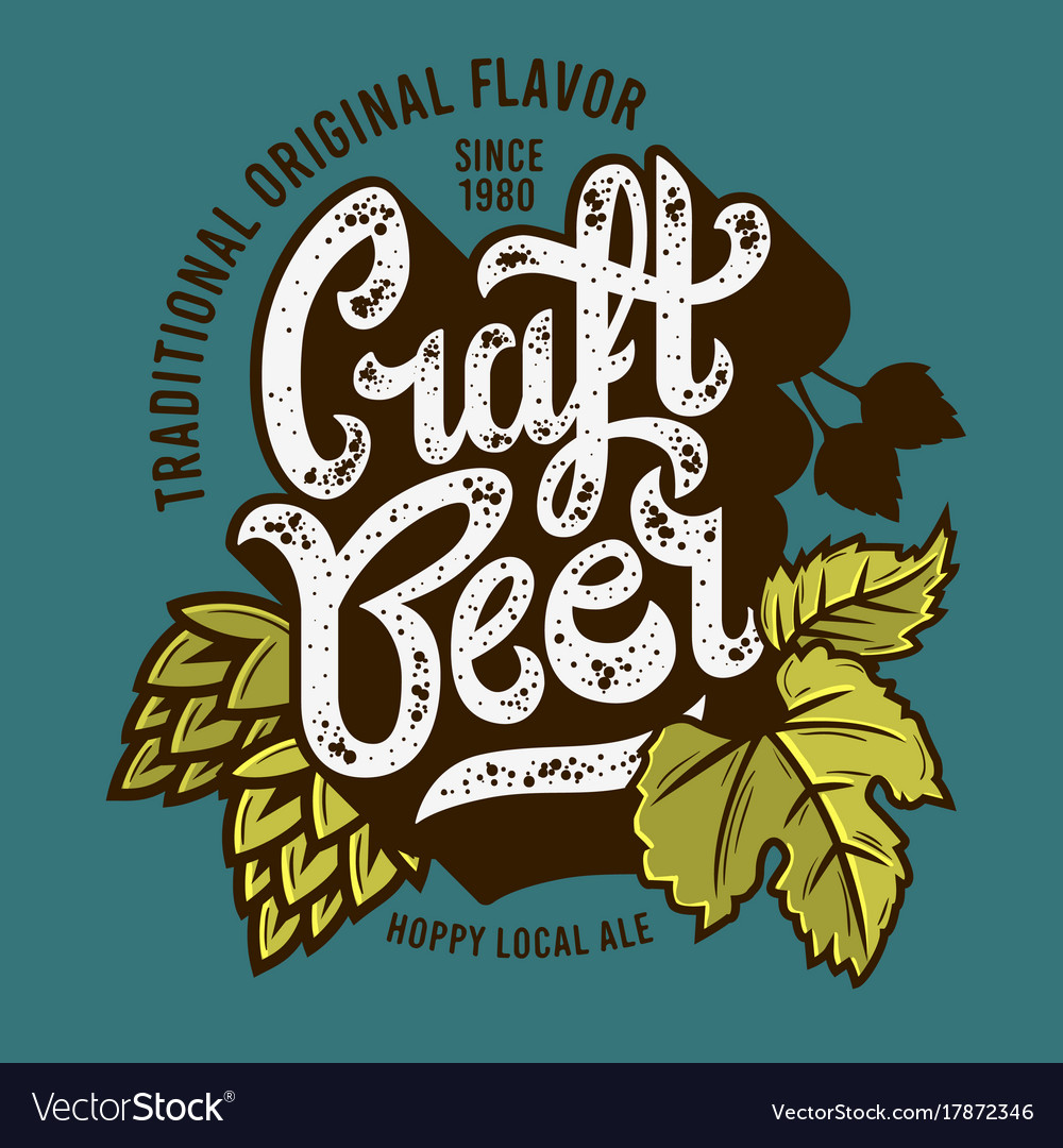 Craft beer label with leaves and hops