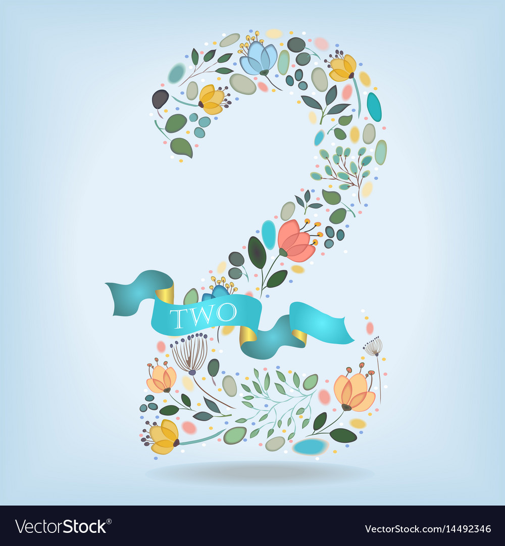 Floral number two with blue ribbon vector image