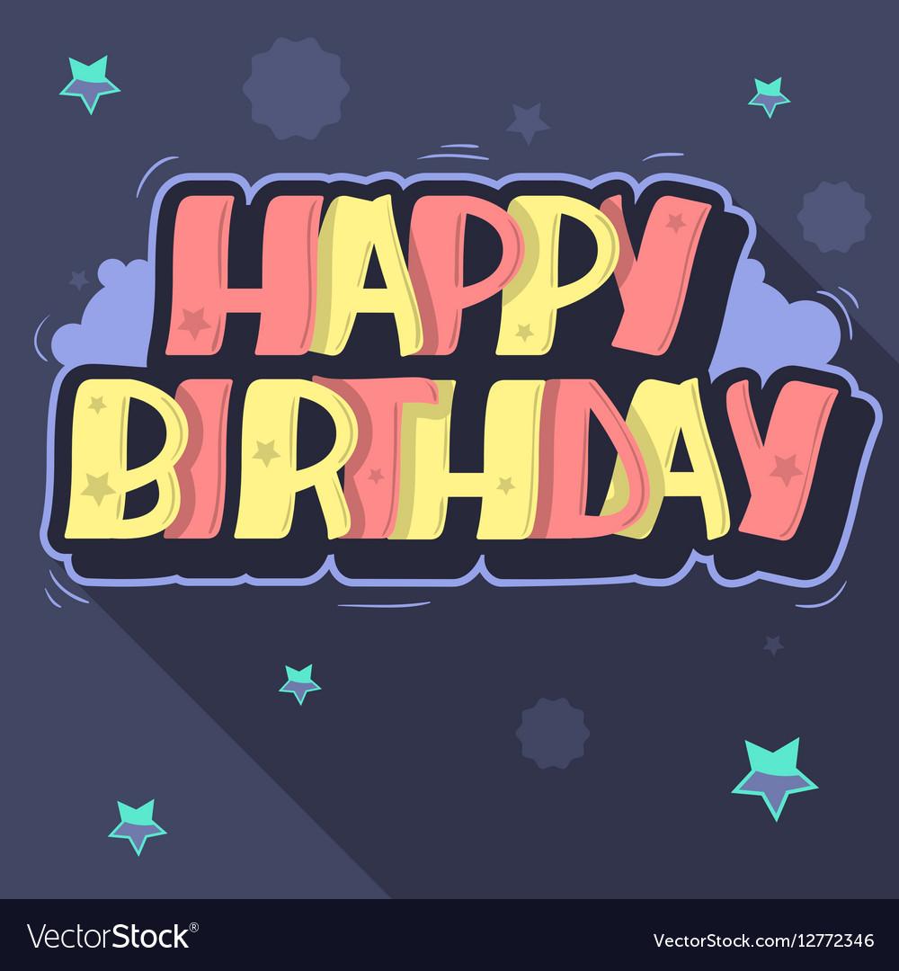 Happy Birthday Greeting Card Graffiti Style Label