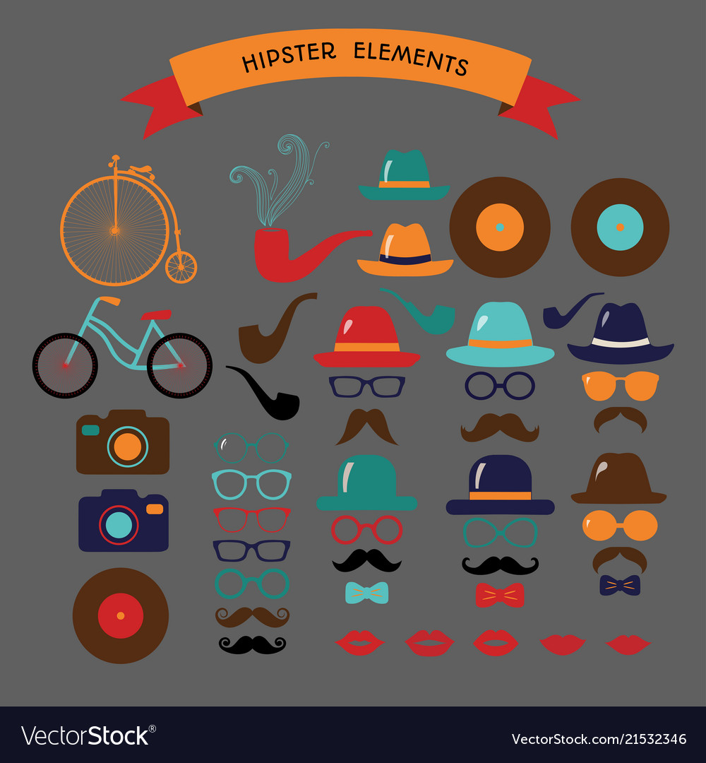 Hipster colorful retro vintage icon set