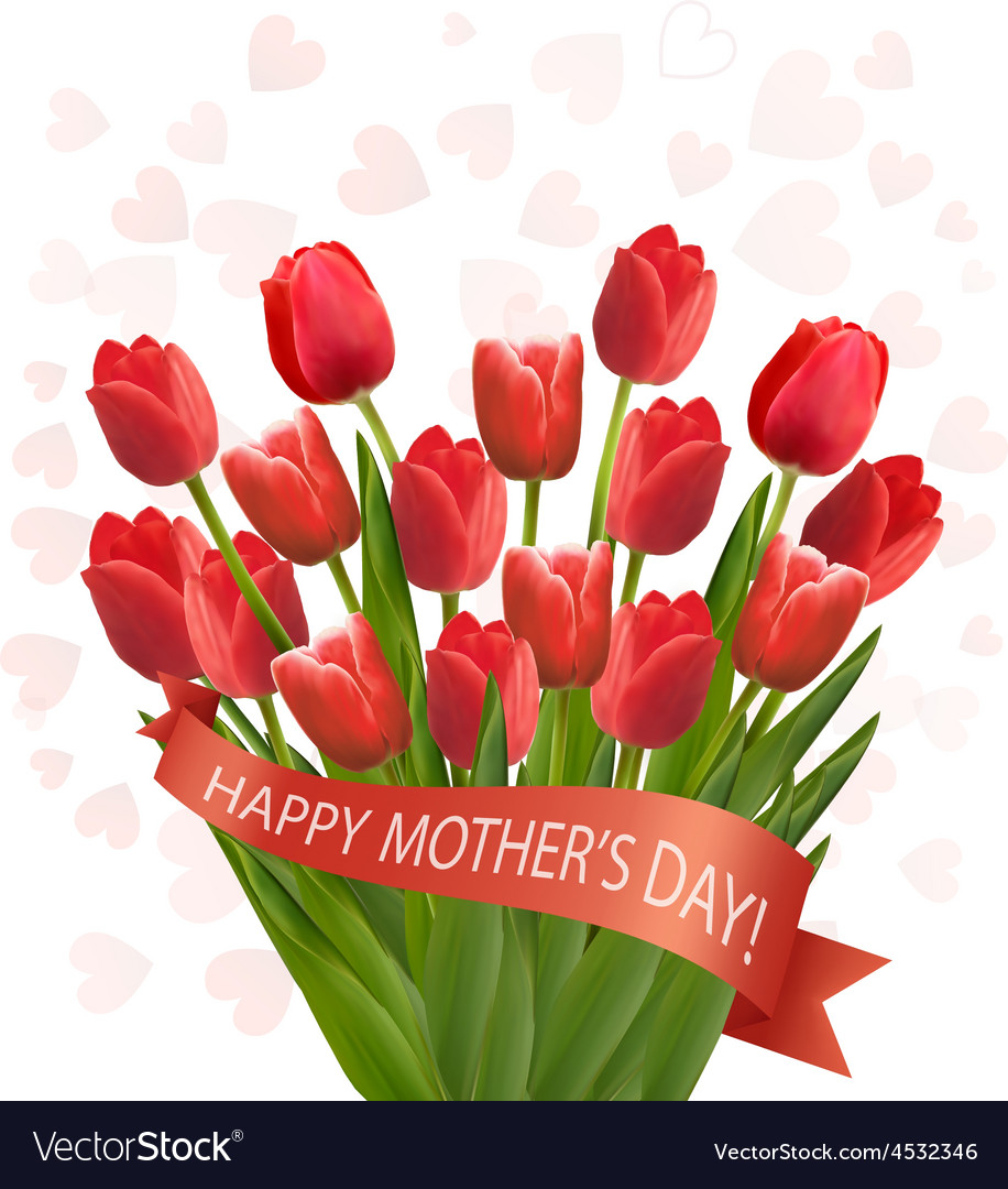 Holiday Mothers Day Background With Bouquet Of Vector Image