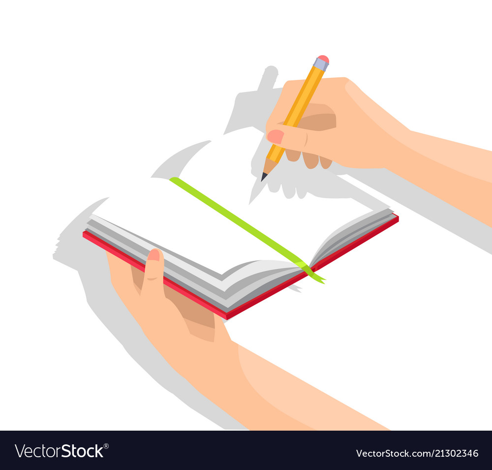 Human hands and notebook isolated