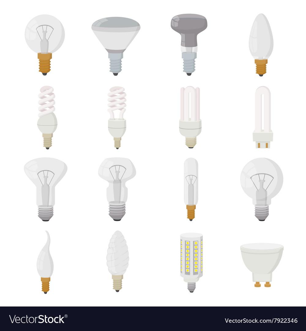 Light bulb icons set cartoon style