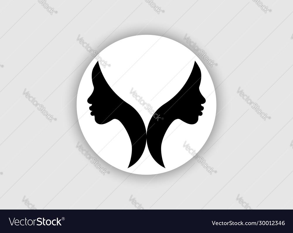 Logo round design african american women face