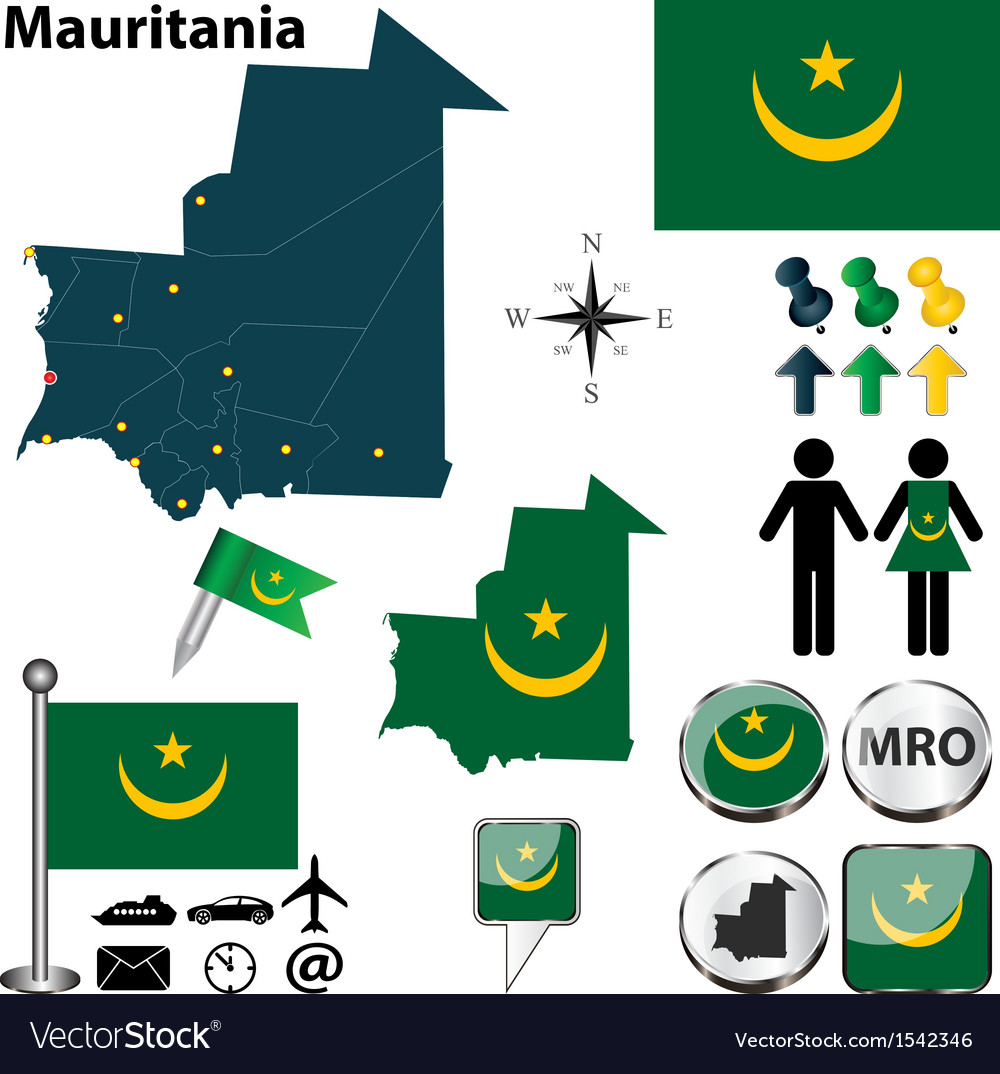 Mauritania map vector image