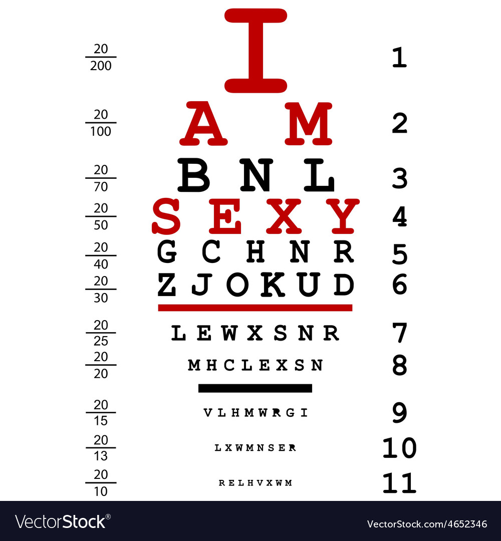 Optical eye test used by doctors with text I am vector image