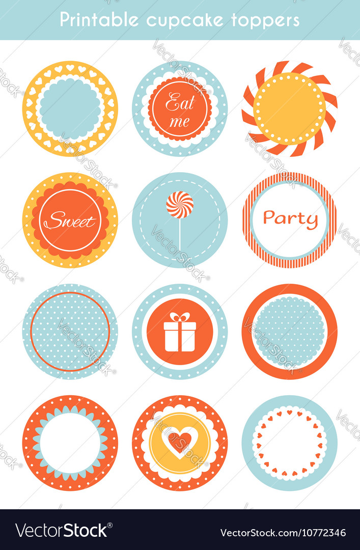 image relating to Printable Cupcake Toppers known as Preset of printable cupcake toppers labels