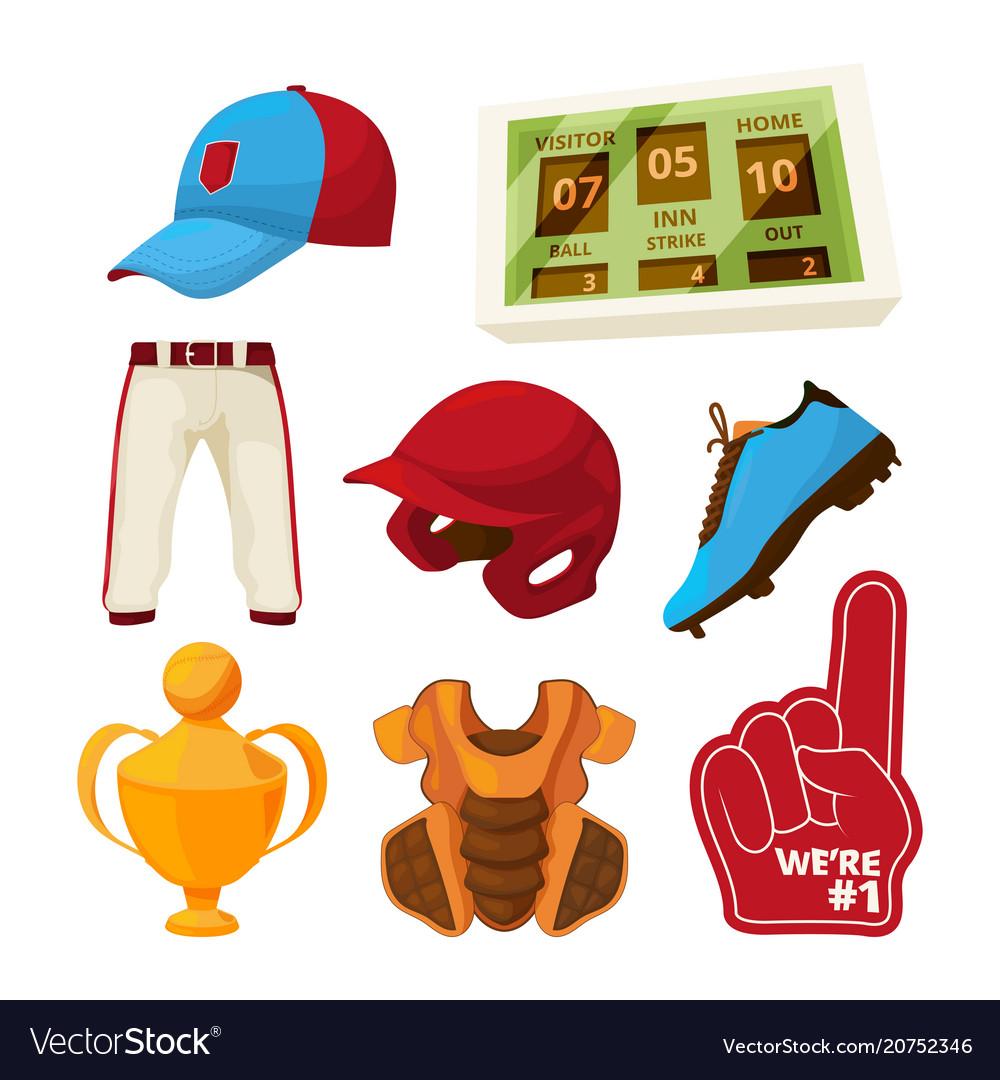 Various symbols of baseball