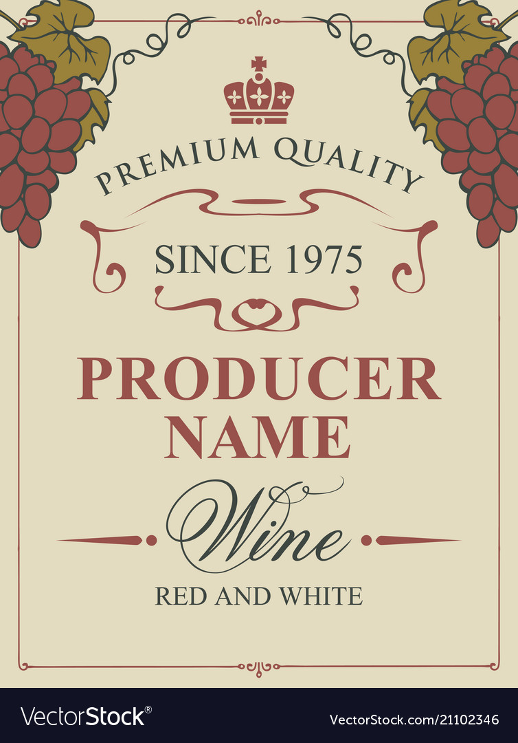 Wine label with bunches of grapes and inscription