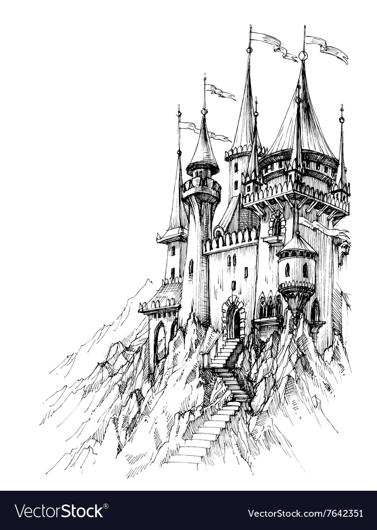 A fairytale castle in mountains vector image