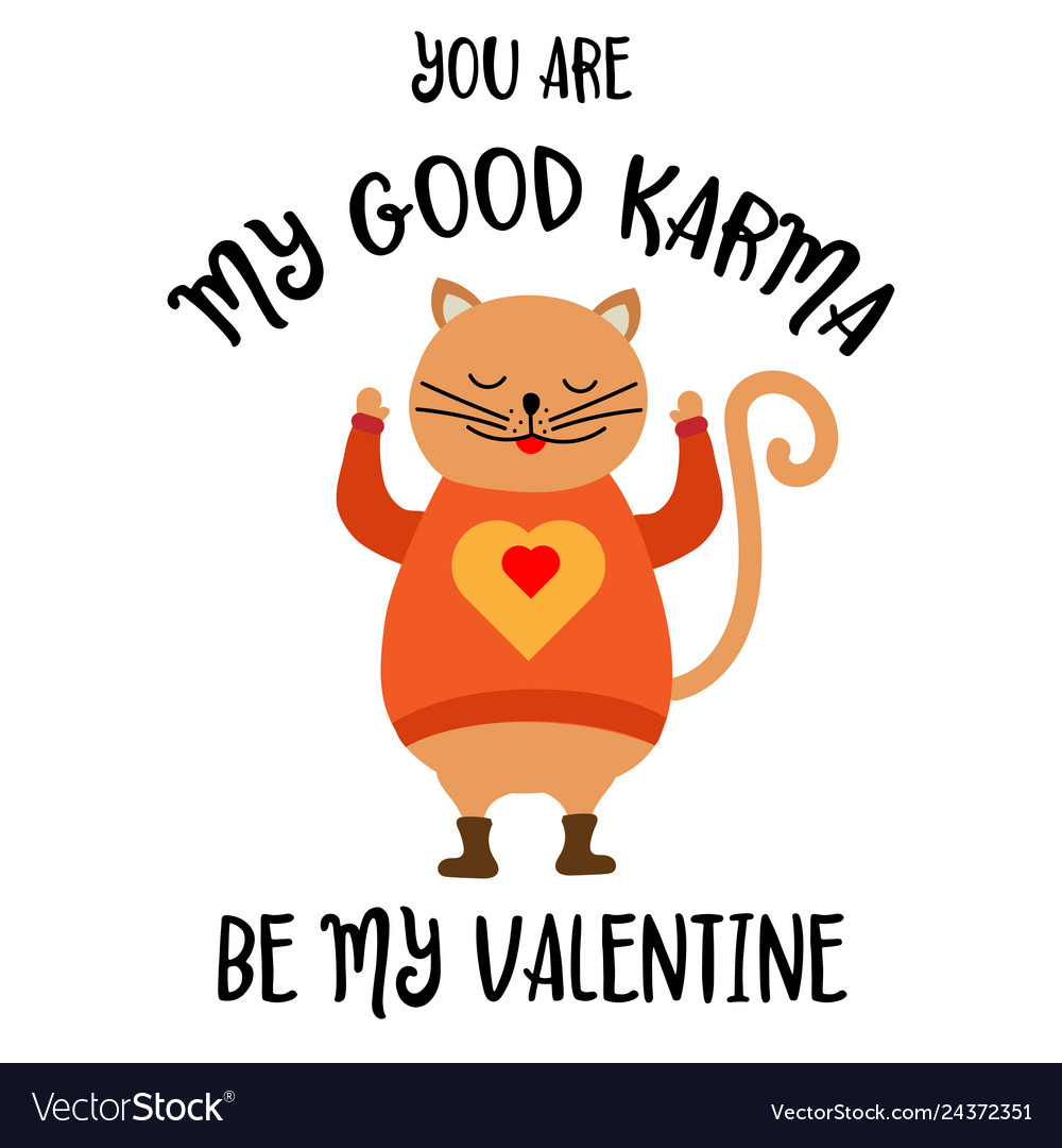 Funny valentines day card with cat