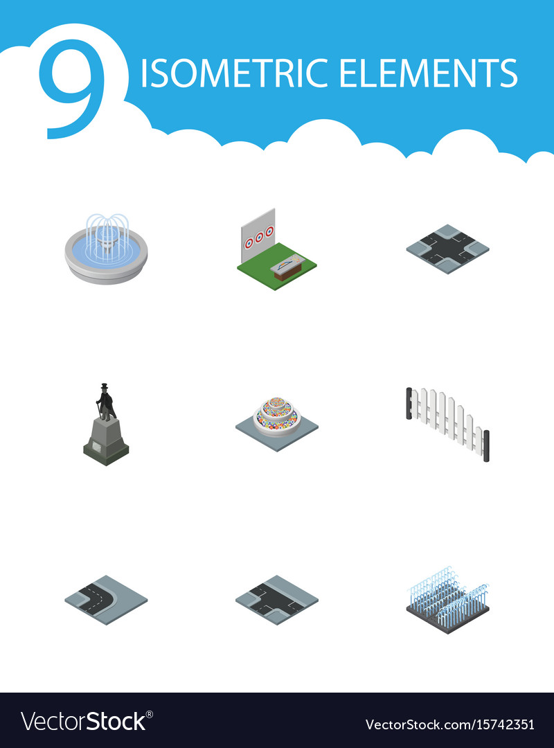 Isometric architecture set of turning road plants vector image
