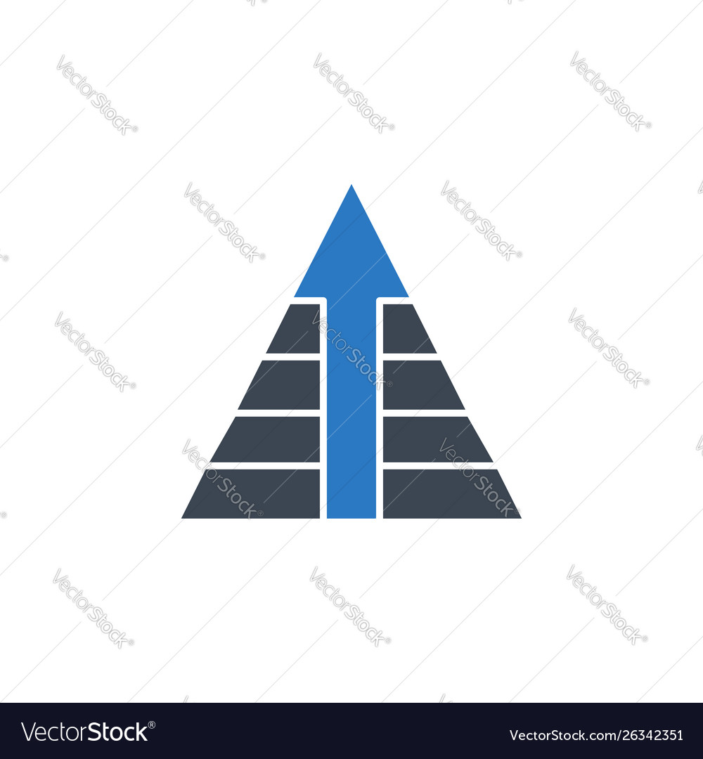 Pyramid with arrow related glyph icon