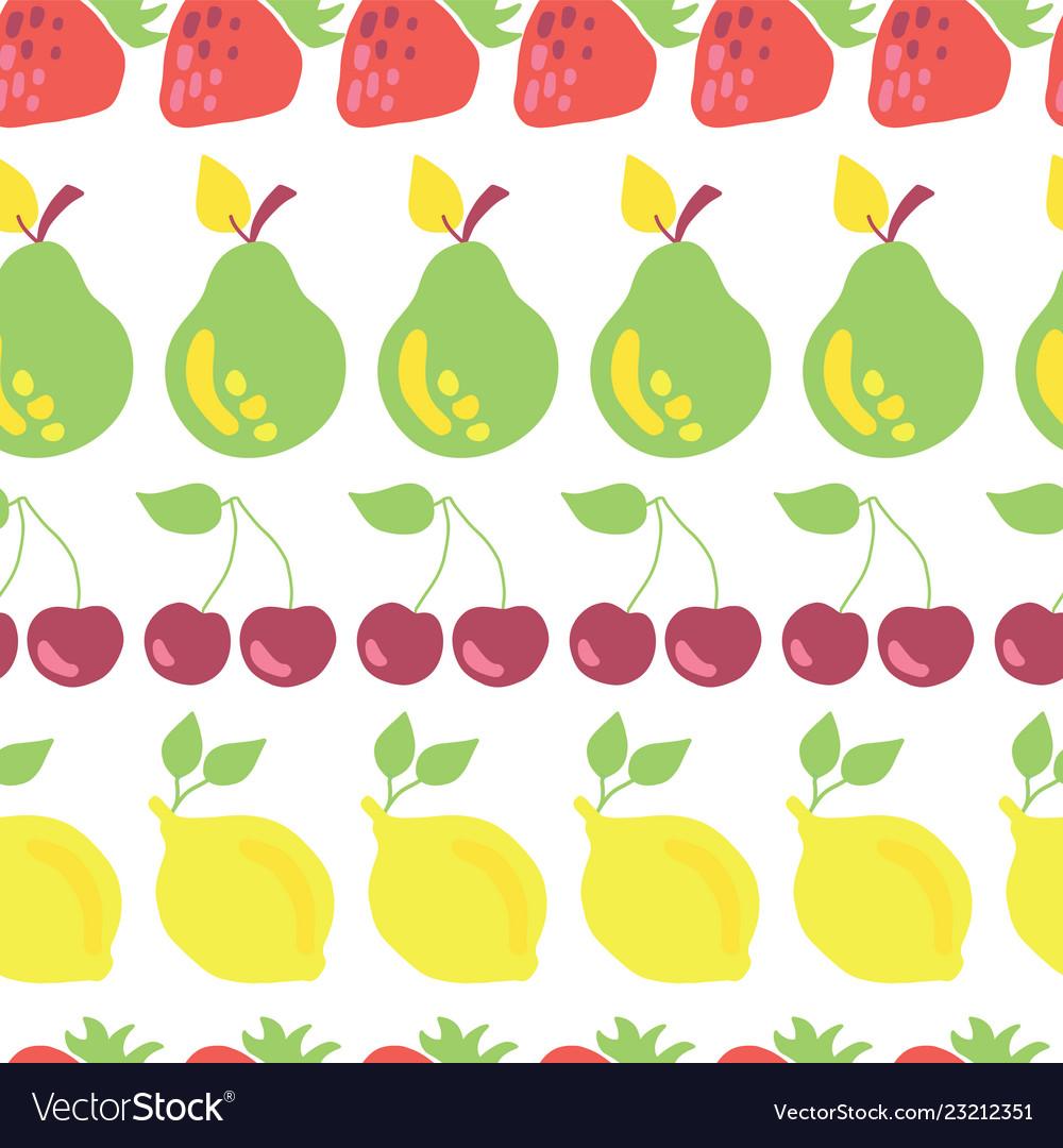 Row of fruits seamless pattern white