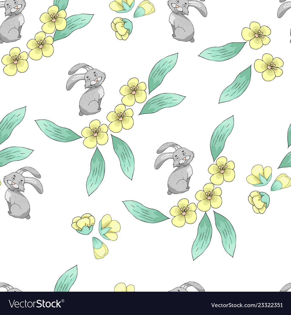 Seamless pattern with a hare and spring flowers