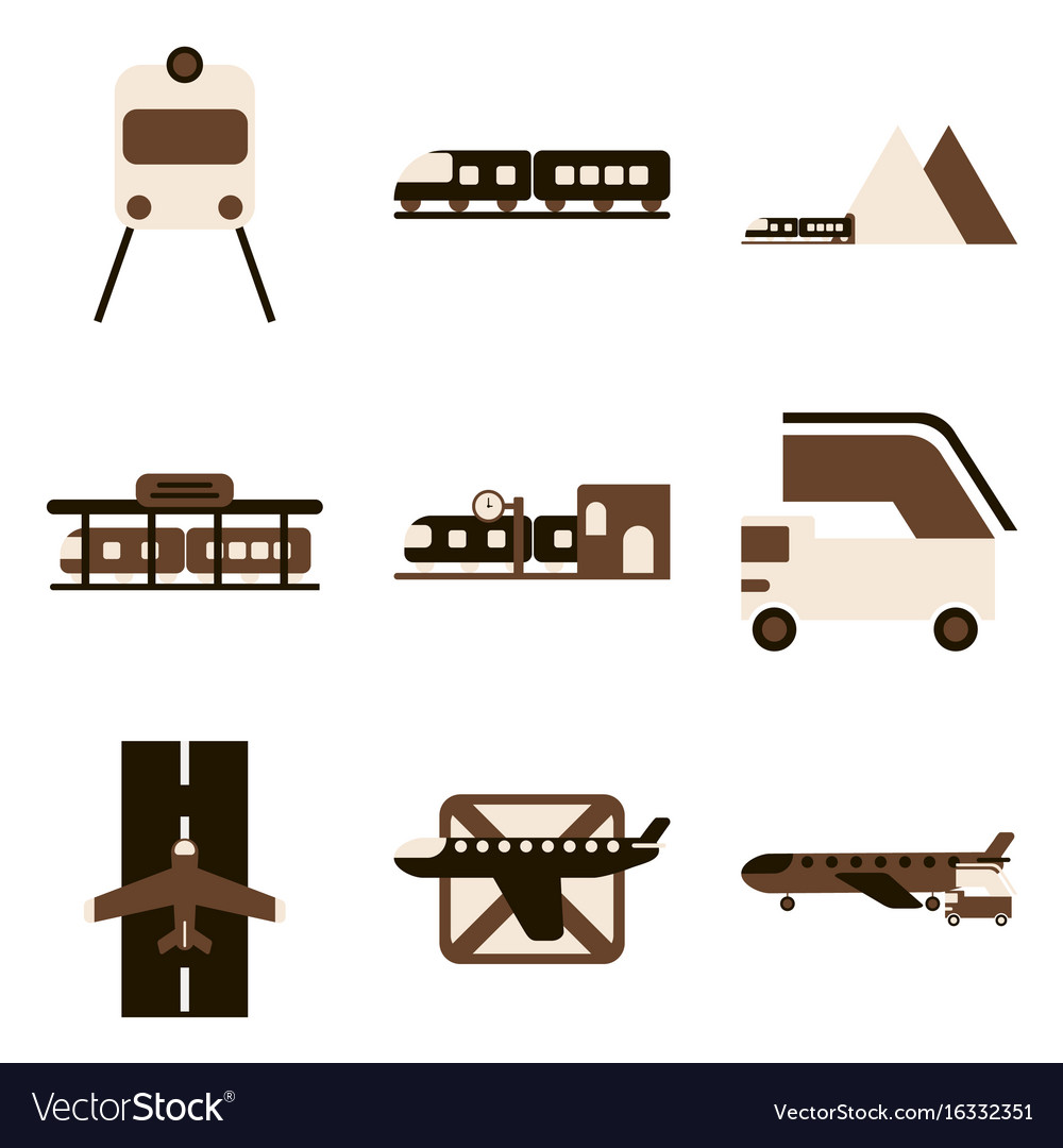 Set of icons in flat design freight and passenger